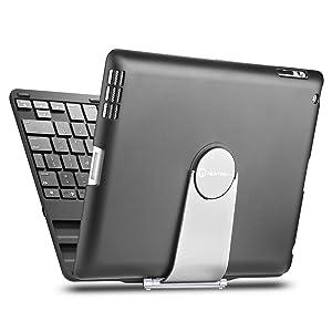 New Trent Airbender 1.0 Wireless Bluetooth Clamshell iPad Keyboard Case w/ 360 Degree Rotation for iPad 4, iPad 3, iPad 2 ONLY