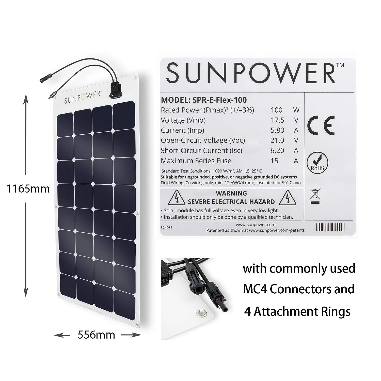 Expertpower 100 Watt Sunpower Flexible Monocrystalline Solar Panel Series Wiring Garden Outdoor