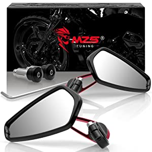 MZS Bar End Mirrors Motorcycle Rear View CNC Standard hollow 7/8 compatible Honda Yamaha Kawasaki Suzki KTM BMW Ducati Aprilia Moto Guzzi MV Agusta Triumph Buell (Red)