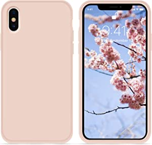 for iPhone X XS Case, OTOFLY [Silky and Soft Touch Series] Premium Soft Button Silicone Rubber Full-Body Protective Bumper Case Compatible with Apple iPhone X/iPhone Xs 5.8 inch, (Pink Sand)