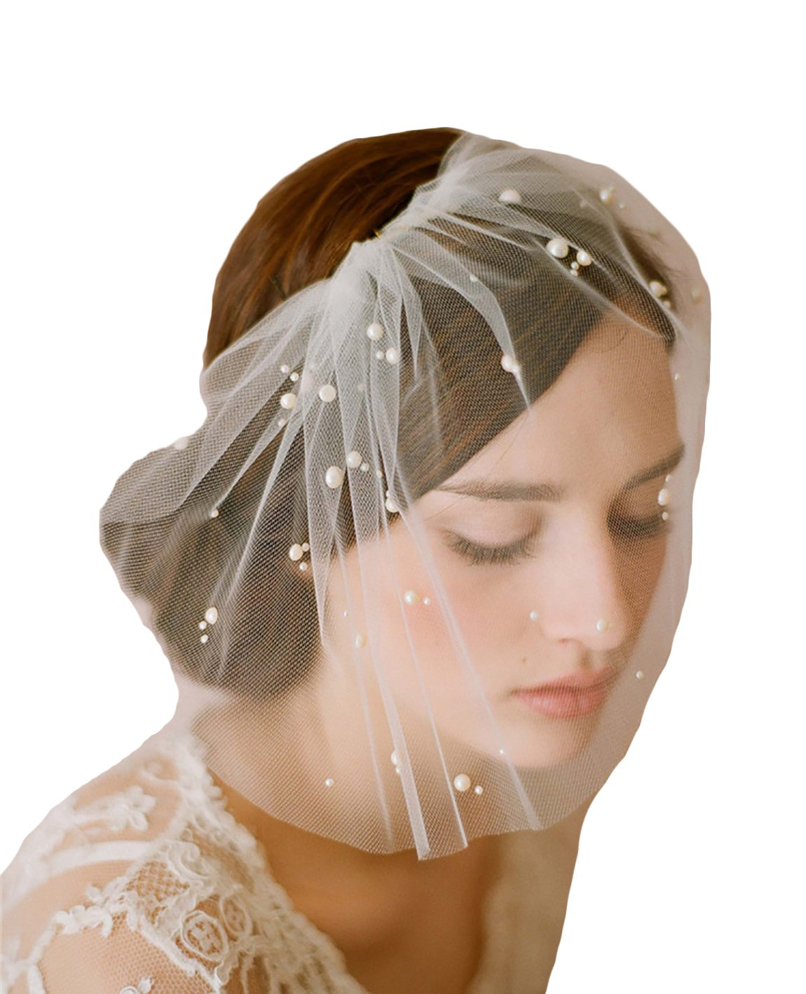Odrobe Women's 1 Layer Birdcage Crystals Cut Edge Short Wedding Veil with Comb Bridal Headwear Ivory