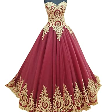 Lwdress Gold Lace Appliques Burgundy Prom Dresses Ball Gowns