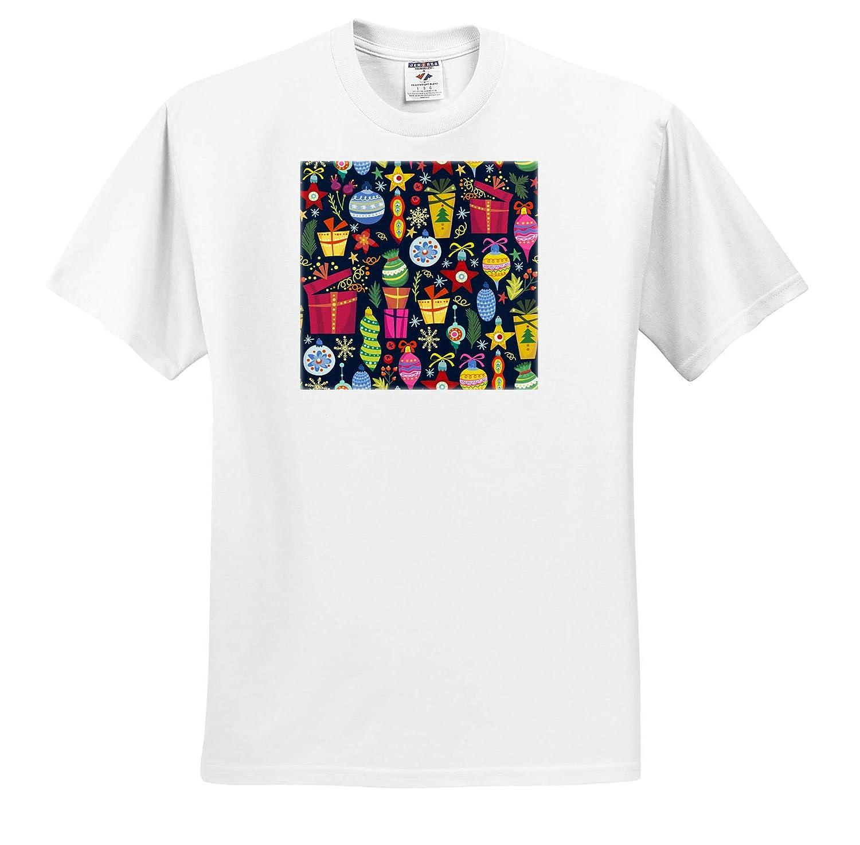 3dRose Anne Marie Baugh ts/_318502 Cute and Colorful Folk Art Pattern Adult T-Shirt XL Christmas
