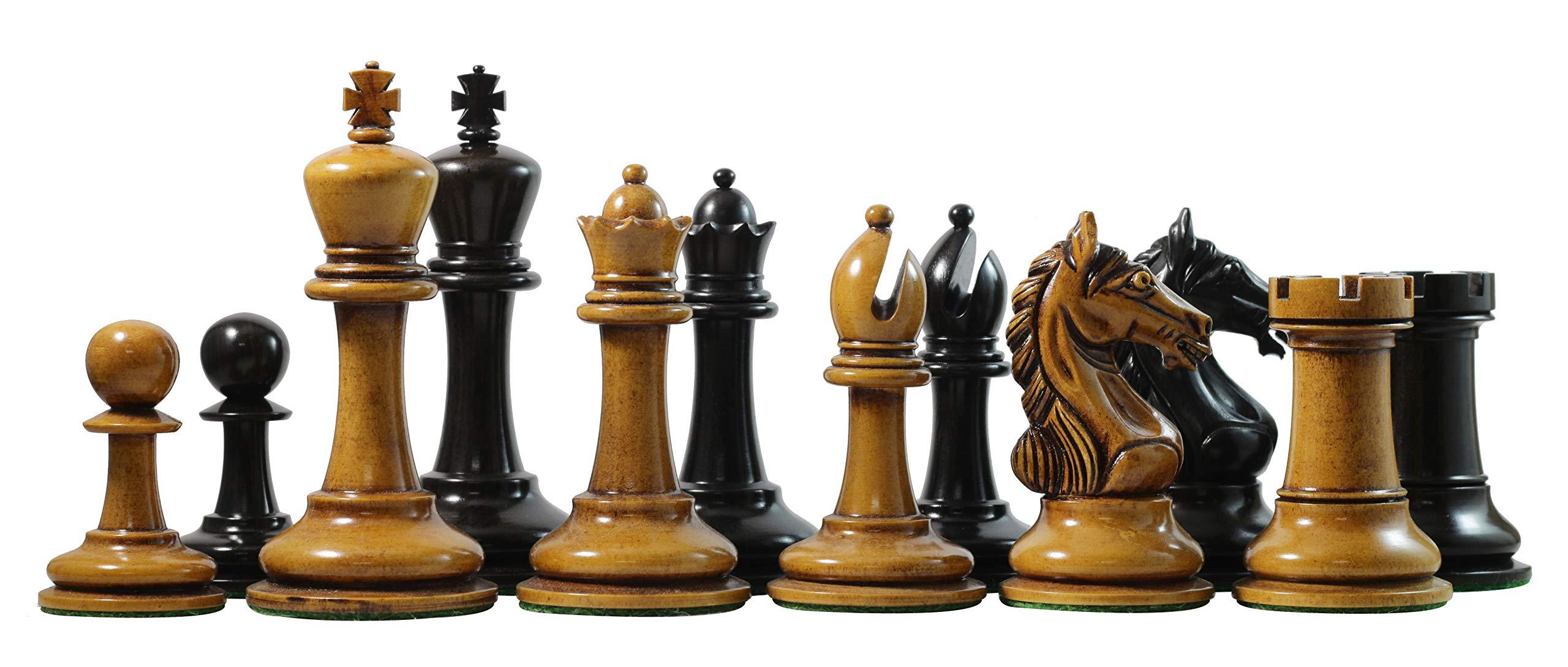 Staunton Castle, Antique Warrior Premium Staunton 4'' Ebony Chess Pieces