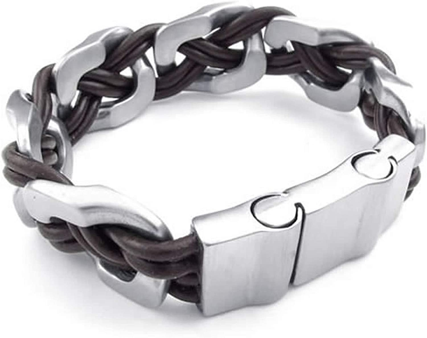 ANAZOZ Black Silver Mens Stainless Steel Leather Cuff Bangle Bracelet Biker