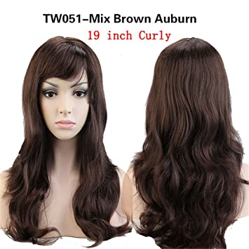 Women Long Wavy Cosplay Wig Brown Heat Resistant Fiber Natural Synthetic Hair Full Head Wig Ombre