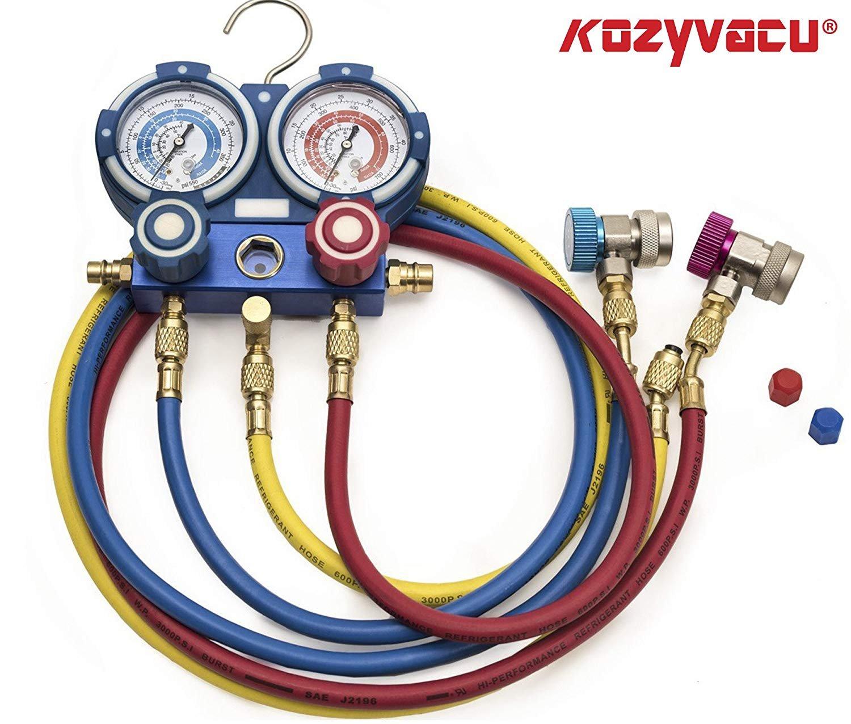 Kozyvacu AUTO AC Repair Complete Tool Kit with 1-Stage 3.5 CFM Vacuum Pump, Manifold Gauge Set, Hoses and its Acccessories by Kozyvacu (Image #5)