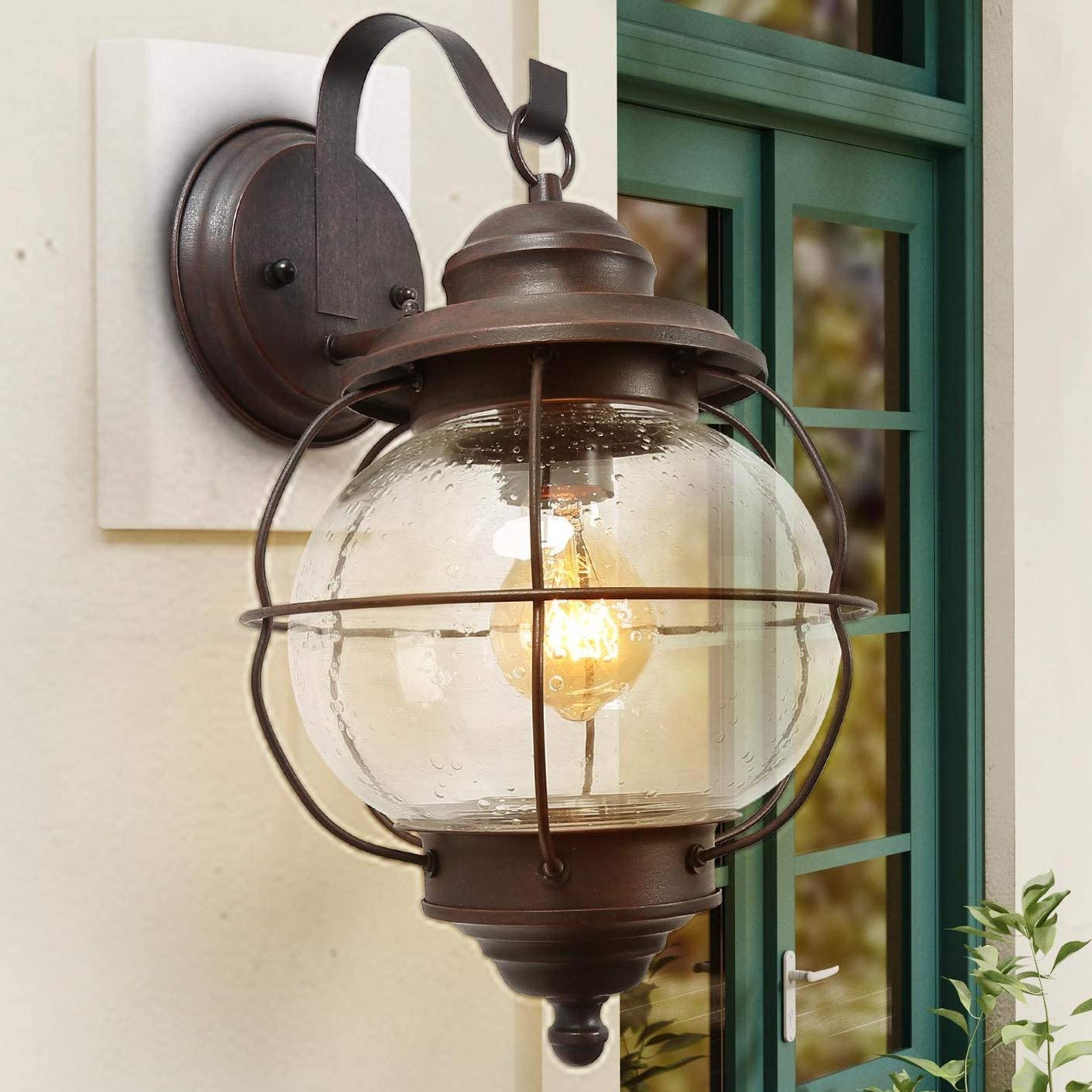 LNC Exterior Porch Light Fixtures,10″ Large Size Globe Seeded Glass Metal Cage Frame