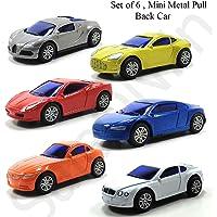 SaleOn™ Set of 6 Unbreakable Mini Diecast Metal Pull Back Sport Car Toys (Assorted-Colors)-1101