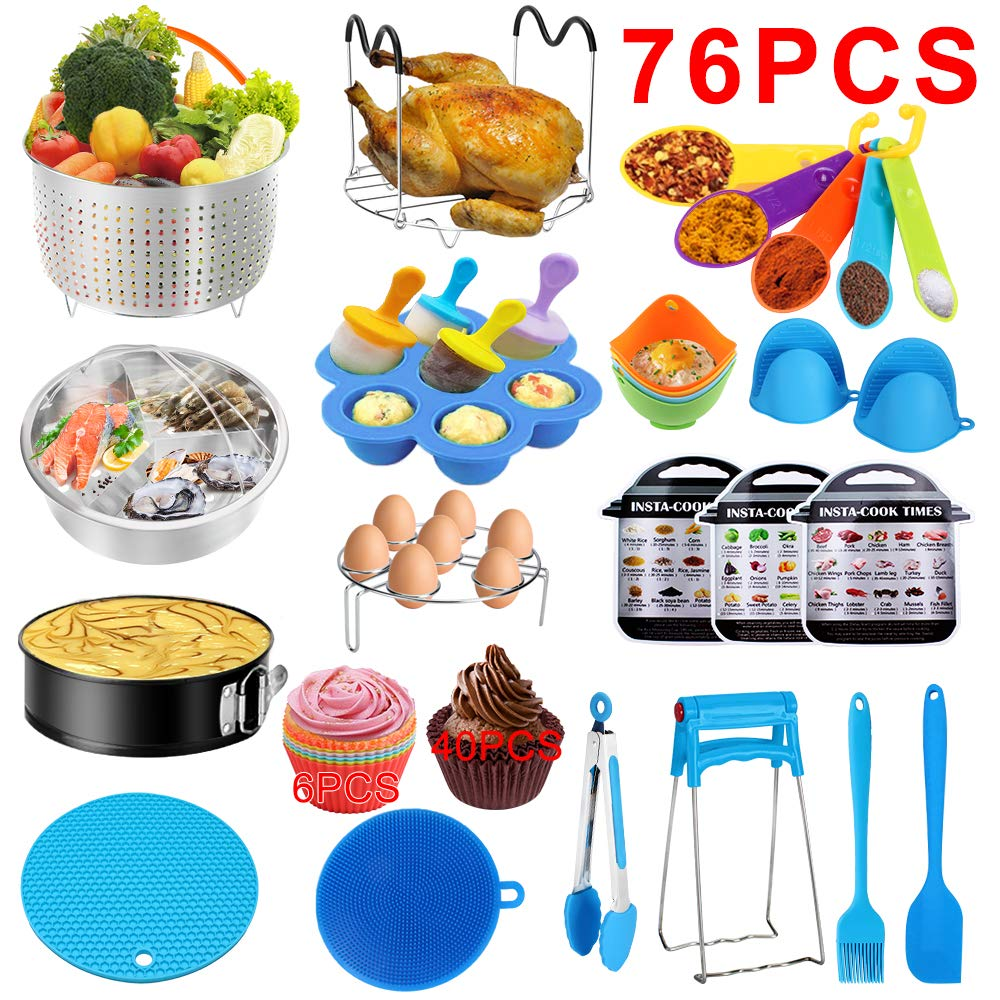 Accessories for Instant Pot, 76 PCS Accessories Compatible with 5/6/8Qt Instant Pot - 2 Steamer Baskets, Steamer Rack, Non-stick Springform Pan, Egg Rack, Egg Bites Mold, Cup Cake Molds and Egg Molds