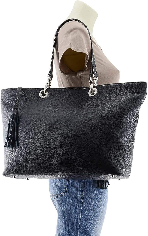 Paula Alonso Maxi-Tasche Stil Hauttasche mit Quasten Schwarz