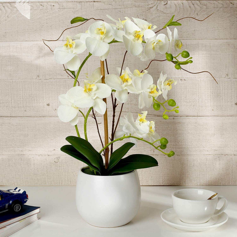 Orchid White Artificial Orchid Plant Fake Orchid Faux Orchid White Orchid Flowers Artificial for Kitchen Home Decor Wedding Party Hotel Decoration Artificial Flower Arrangements Table centerpieces