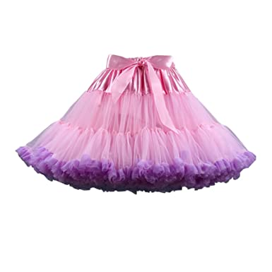 deeabf224a Youcanshine Adult Women's Fluffy Ballet Dance Costume Party Pettiskirt Tutu  Skirt (Light Pink & Purple): Amazon.co.uk: Clothing