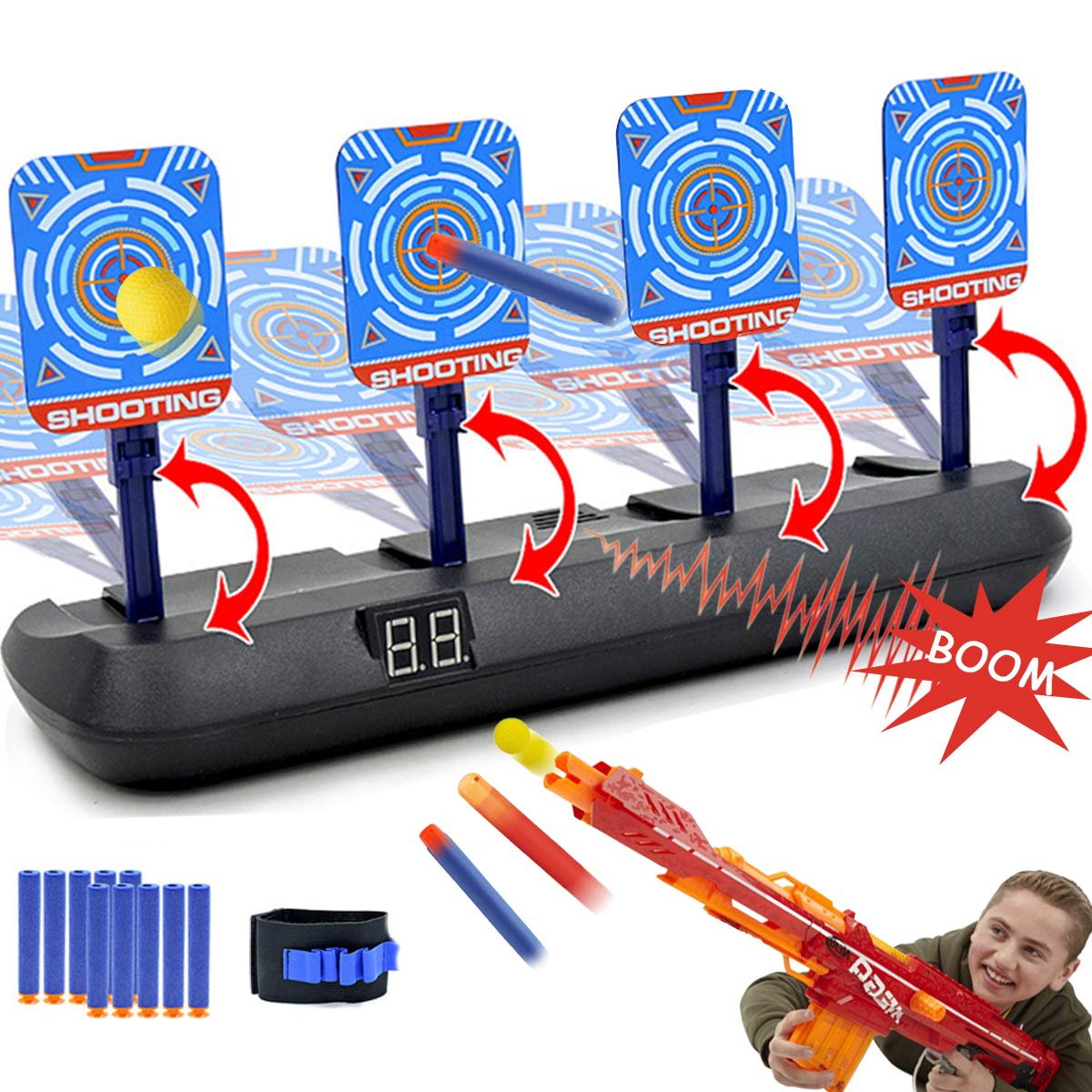 Electric Scoring Target for Nerf Guns - Auto Reset Intelligent Light Sound Effect Digital Shooting Targets, Ideal Gift Toys for Teens, Boys & Girls(2019 Update Version/4 Targets)