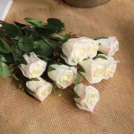 Flores artificiales, 8 piezas, flores artificiales, franela floral, planta de jardín, boda, flores, arreglos para decoración del hogar, centros de mesa, decoración, Blanco, 8pc: Amazon.es: Hogar