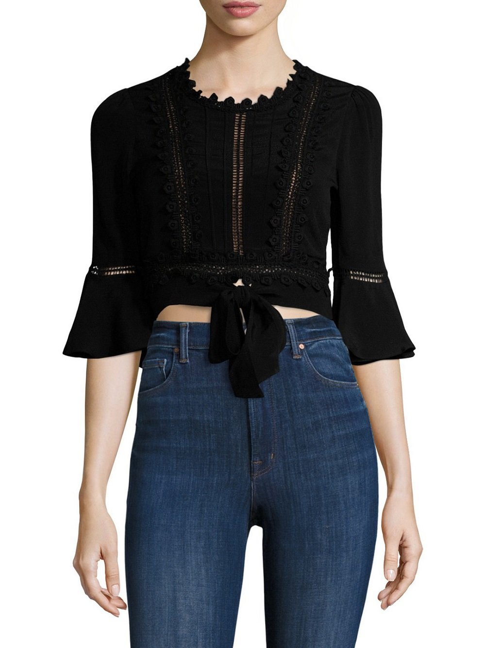 For Love & Lemons - Willow Crop Top - Black - S