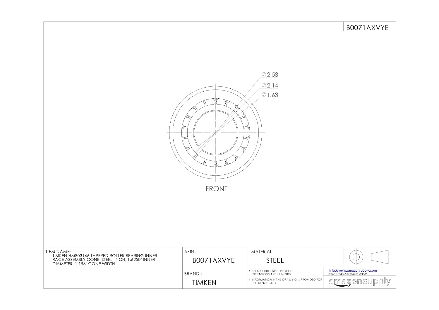 Details about  /Timken HM803146 Tapered Roller Bearing New