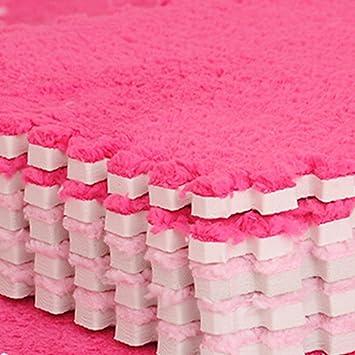 Lot de 9pcs alfombra de suelo Puzzle de espuma de lana antideslizante antigolpes Juego para bebé talla 30 * 30 * 1 cm, rosa, 30*30*1cm: Amazon.es: Hogar