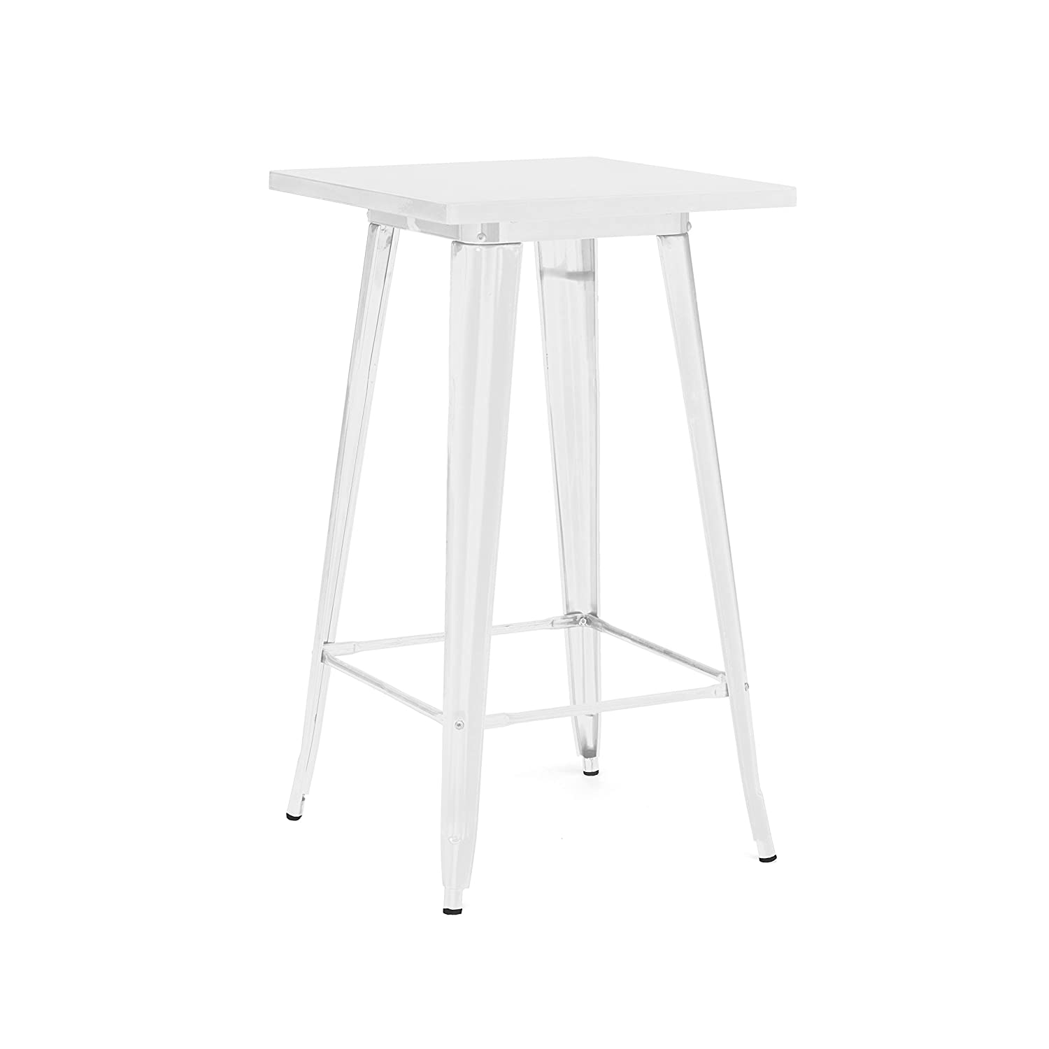Design Lab MN LS-9110-WHT Dreux Glossy White Steel Bar Table 42 Inch