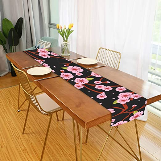 Amazon Com Whdkg Farmhouse Table Runner For Home Kitchen Dining Table Coffee Table Decor Runner For Table Cherry Blossom Flowers Table Linens For Indoor Outdoor Everyday Uses 13x70in Home Kitchen