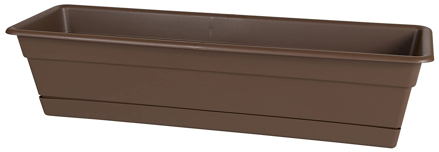"Bloem Dura Cotta Window Box Planter w/Tray, 18"", Chocolate (DCBT18-45)"