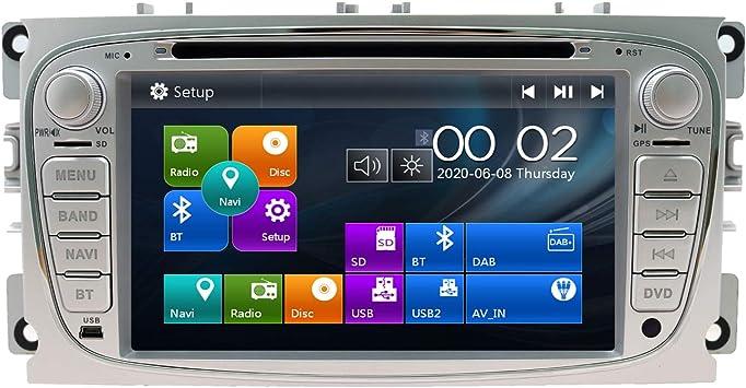 Swtnvin Autoradio Passend Für Ford Mondeo Focus Fusion Transit Fiesta Galaxy In Dash 7 Zoll Gps Navigator Doppel Din Haupteinheit Unterstützt Usb Sd Rds Video Bluetooth Swc Dvd Player Silber09 Navigation