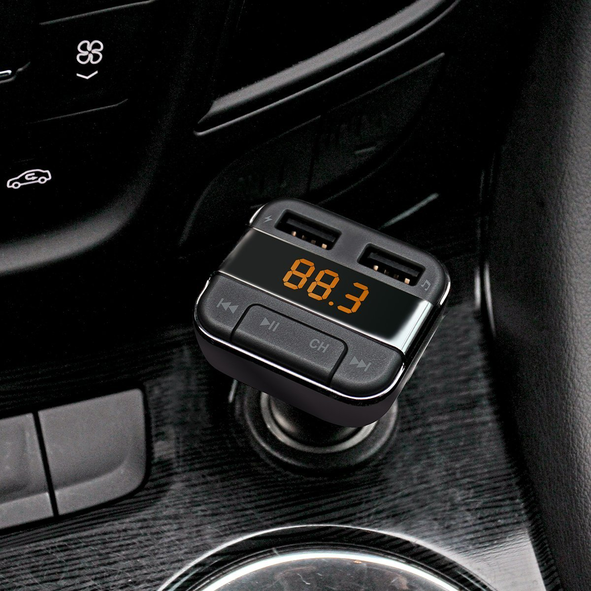 Perbeat Car Bluetooth FM transmitter for iPhone/Android with MP3 Music controls. Dual USB Charging ports. Supports USB/Micro SD card. Hands Free Remote control BT10 Black by Perbeat (Image #7)