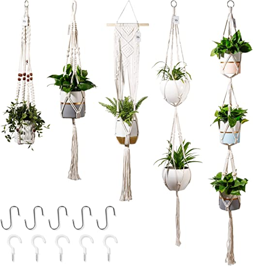 Large Plant Hanger Cotton Rope Plant Hanger Set with Key Ring Hanging Planter//Plant Holder Indoor Outdoor for Plants 2 Size 6 Packs