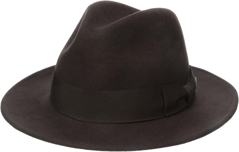 Indiana Jones Mens Wool Felt Water Repellent Outback Fedora with Grosgrain