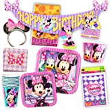 Disney Minnie Mouse Party Supplies Ultimate Set (108 Pieces) -- Party Favors, Birthday Party Decorations, Plates, Cups, Napkins, Minnie Mouse Ears and More!