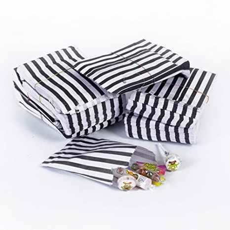 pack 200 7 x 9 Grey Candy Stripe Paper Bags