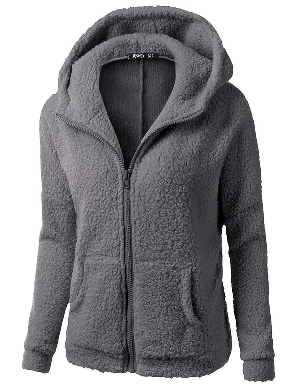 Andongnywell Selling Winter Fleece Jackets Womens Hoodie Sweater Wool Full-Zip Plus Size Casual Outdoors Outwear