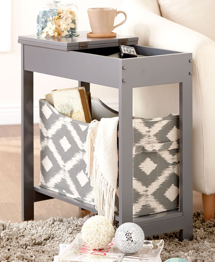 The Lakeside Collection Side Table with Fashion Print Storage Bin- Gray