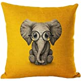 Aremazing Lovely Animals Elephant Baby Wearing Glasses Cotton Linen Home Decor Pillowcase Throw Pillow Cushion Cover 18 x 18 Inches (Elephant / Yellow)
