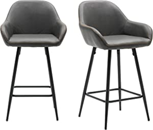BTEXPERT 25 inch Bucket Upholstered Dark Gray Accent Dining Bar Chair Set of 2, 5091m Vintage Gray Stools (2) (5091M-2)