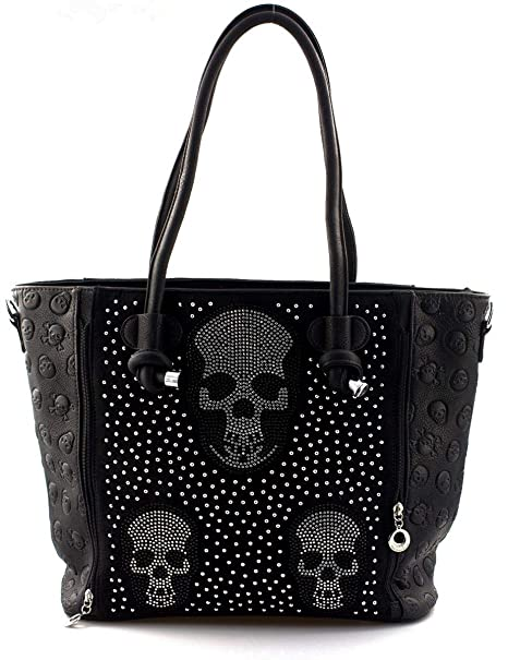 Star-Trends Damen Handtasche Totenkopf Skull Bone Bowling Bag Gothic Punk Damentasche Schultertasche by