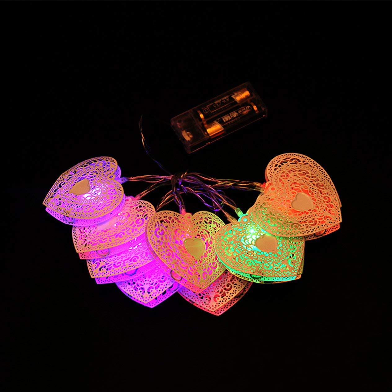 Ironheel Fairy String,1.2m 10LEDs Hollow Heart Shaped Fairy String Decorative Lights Battery Operated Wedding Christmas Outdoor Patio Garland Decor