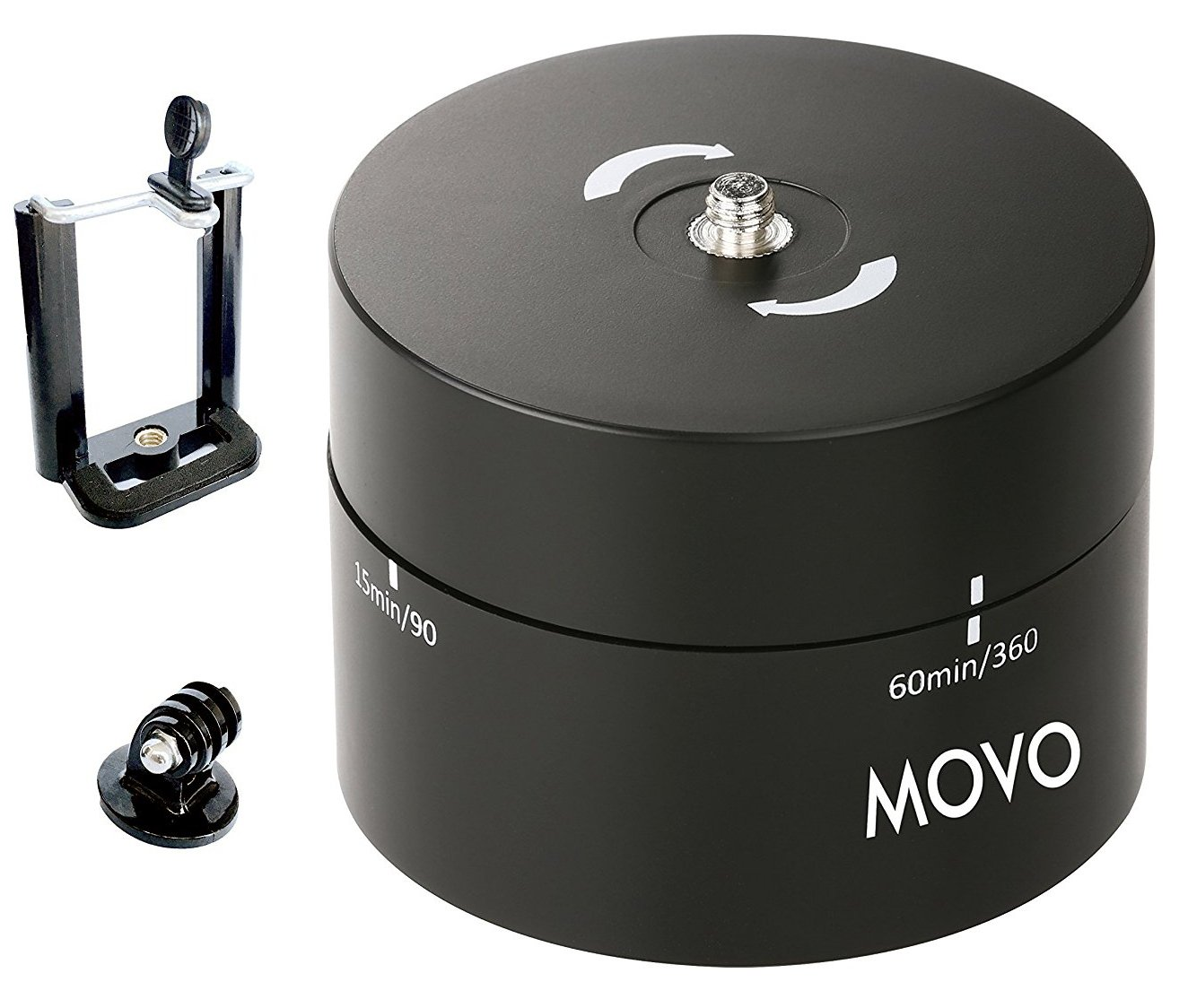 Movo Photo MTP1000 Panaromic 360°/ 60-Minute Time Lapse Tripod Head for Cameras, DSLR's, GoPro's and Smartphones (Supports up to 4.4 LBS)