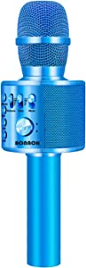 BONAOK Wireless Bluetooth Karaoke Microphone,3-in-1 Portable Handheld karaoke Mic Speaker Machine Christmas Birthday Home Party for Android/iPhone/PC or All Smartphone(Q37 Blue)