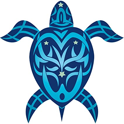 Pacifica island art tribal honu turtle hawaiian art decal car window bumper sticker