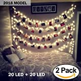 Horonzo [2018 Model] 2 pack 20 LED Photo Clips String Lights, Battery Operated - Features Movable Photo Clips - Long Lasting Heavy Duty - Ideal For Hanging Pictures, Cards, Artwork, Decorations