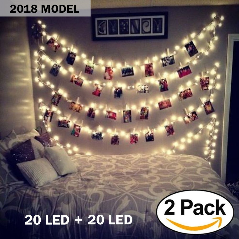 [2018 Upgraded Model] 2 pack 20 LED Photo Clips String Lights, Battery Operated - Features Movable Photo Clips - Long Lasting Heavy Duty - Ideal For Hanging Pictures, Cards, Artwork, Decorations