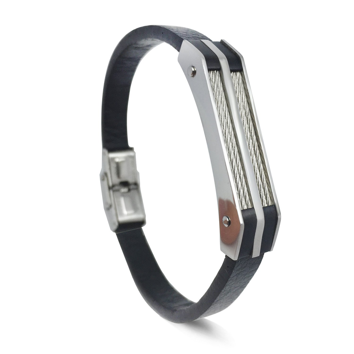 Mens Bracelet Stainless Steel Leather with Black Cowhide Leather Wristband, Wrist Cuff Bangle With Fold Over Clasp, Bracelet For Men 8.5 inch