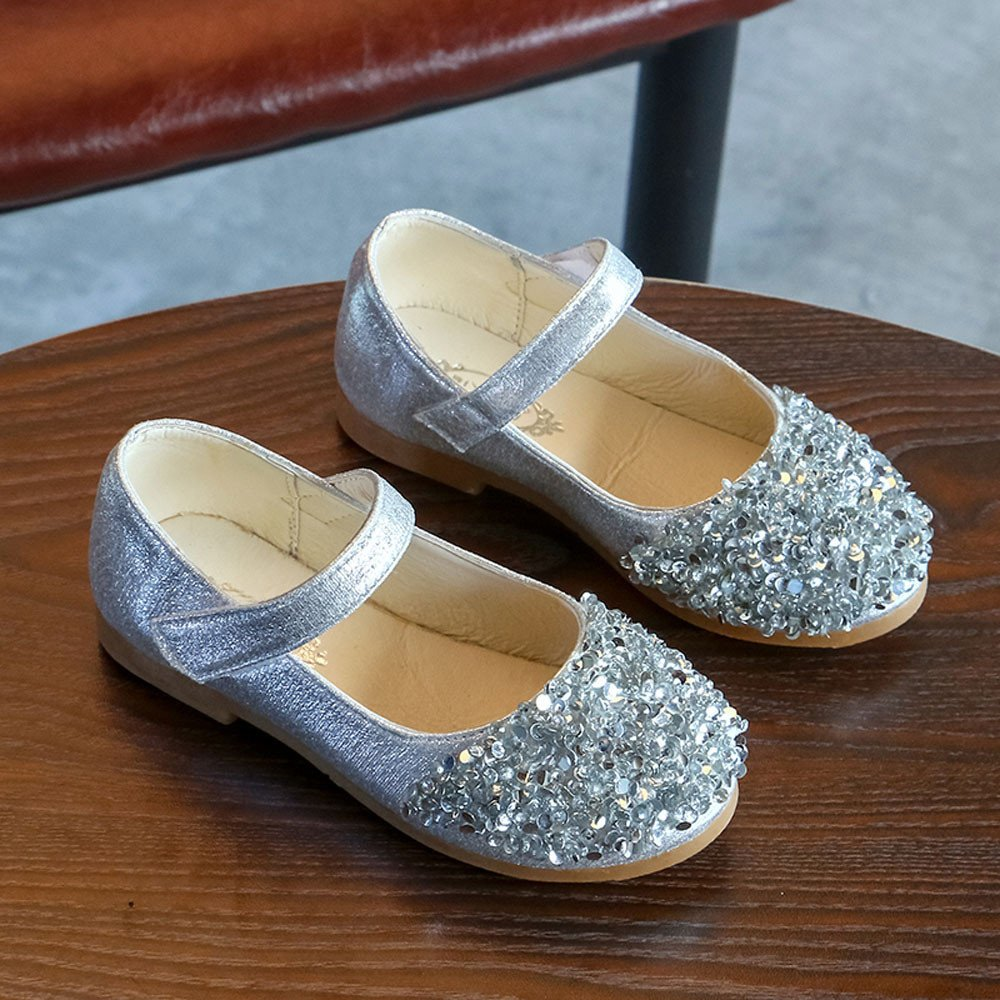 Hei/ßer Kinder Kleinkind Schuhe Infant Baby M/ädchen Kristall Leder Einzelne Schuhe Party Prinzessin Schuhe Single Casual Sneaker Silber Gold Rosa 21EU-30 EU