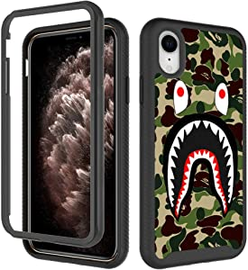 GUGU6JI iPhone XR Cases,Army Green Shark Fashion Design Heavy Duty Shockproof Rugged Protection Cover Dual Layer Soft TPU + Hard PC Bumper Full-Body Protective Case for Apple iPhone XR (6.1Inch)