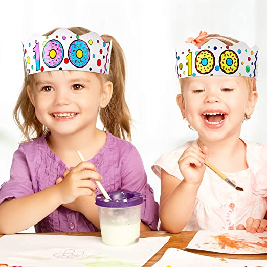 White BBTO 20 Pieces 100 Days Paper Crowns 100th Day DIY Crowns 100 Days Paper Tiaras for 100th Day of School Party 100th Birthday Party Decoration
