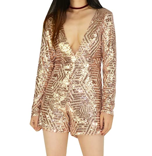 e33fa8ef184c YSJERA Women s V-Neck Sequins Bling Bodycon Sexy Long Sleeves Romper Short  Jumpsuits (Champagne