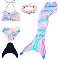 Qfeng Mermaid Tail Swimmable Princess Bikini Set Swimsuit Costume for Girls with Fin