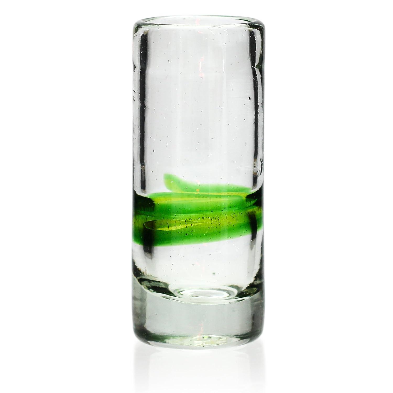 Vaso de Chupito/Tequila Artesanal - Vidrio Reciclado - Verde Mezclado - Juego de 6: Amazon.es: Hogar