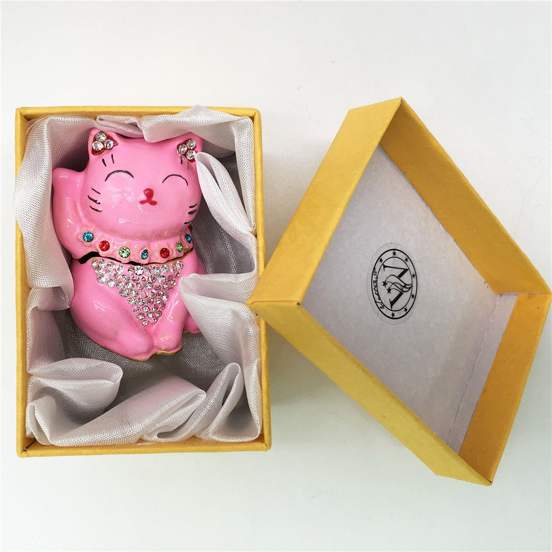 Waltz&F Pink Lucky Cat Figurine Collectible Animal Hinged Trinket Box Bejeweled Hand-painted Ring Holder